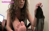 Victoria in Black Stockings Foot Tease